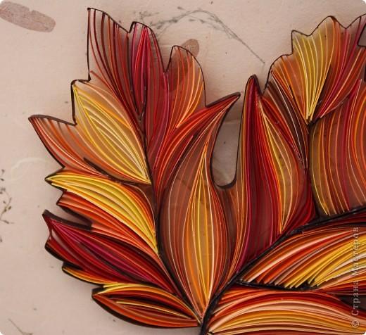 Здравствуйте, дорогие жители Страны!  На этот раз я к Вам со своим вариантом осенней темы.  Использовала полоски 3мм 16 цветов ( 4 оттенка жёлтого, 4- рыжего, 4- коричнево- бежевого и 4 красно-розового цвета).  Размер самого листочка 13 *13 см. фото 2