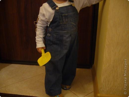 """Комбинезон для мальчика. Выкройка из журнала """"Оттобре"""". (из папиных порванных брюк). Не шила со времен уроков труда в школе. Дни декретного отпуска стараюсь проводить интересно. фото 3"""