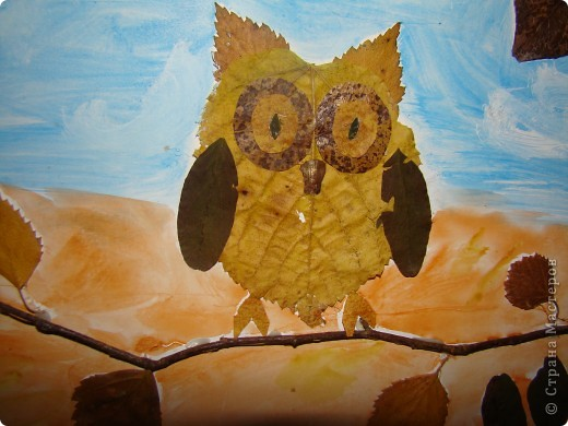 Надо было моему сынульке в детский садик сделать аппликацию из листьев, и вот что у нас получилось. фото 2