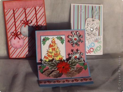 Начала и я подготовку к Новому году. Вот мое первое трио новогодних открыток. фото 1