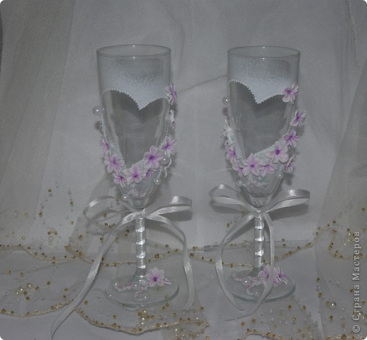 """Свадебные бокалы """"Лунный цветок"""" фото 2"""