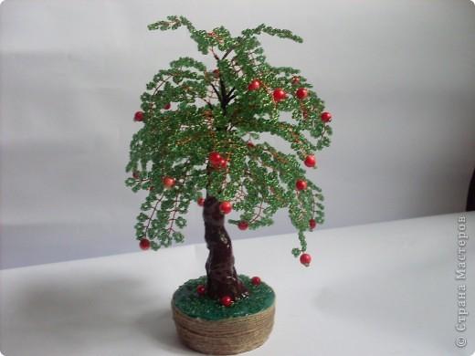 Мое первое бисерное дерево-яблонька фото 3