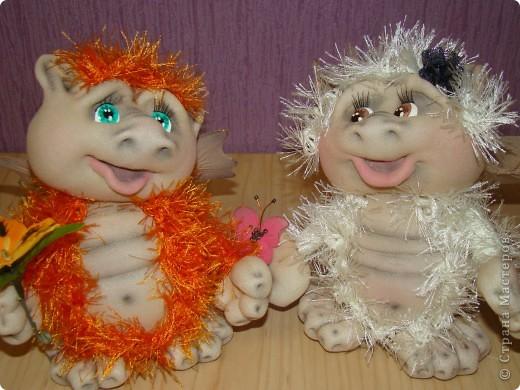 Куклы Новый год Шитьё Дракончики Мастер класс 2 часть Капрон фото 10