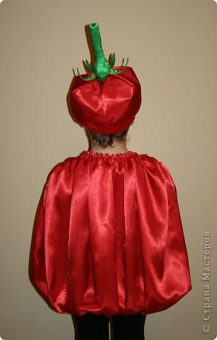 Друзья попросили меня сшить их сынишке такой костюм для участия в детском спектакле. Ничего подобного я раньше не шила, это мой первый опыт, так что строго не судите. ;) К сожалению я не смогла фотографировать в процессе работы, поэтому постараюсь сделать подробное описание и доснять что можно в готовом виде. Нам понадобится: креп-сатин красного цвета - 170 см. креп-сатин зеленого цвета 50 см. флизелин - ок. 1м. атласную ленту шир. 0,7 см. - ок. 1м. резинку бельевую шир. ок. 0,7 см. - 50 см. резинку широкую 1,5 или 2 см. - 1м. косую бейку красного цвета - 1м. гибкую проволоку - 60 см. синтепон для набивки ботвы - 20 см. нитки в тон тканей. фото 2