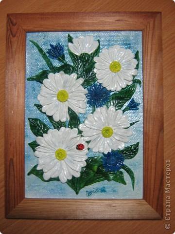 Благодаря МК Мариночки Архиповой,слепились подслонухи и ромашки.Думаю,что это не последнии мои картинки с такими цветочками... фото 1
