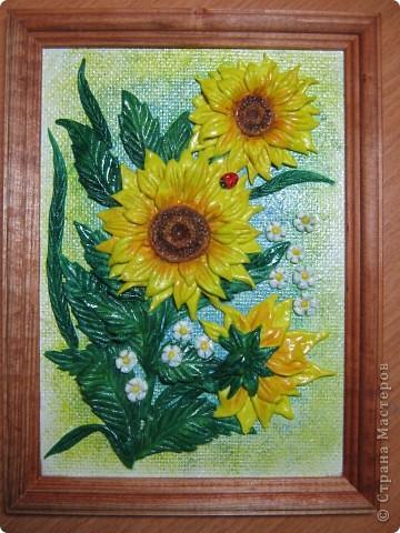 Благодаря МК Мариночки Архиповой,слепились подслонухи и ромашки.Думаю,что это не последнии мои картинки с такими цветочками... фото 2