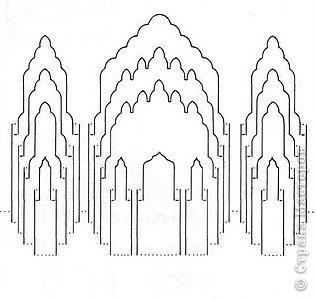 Киригами - это искусство изготовления фигурок и открыток из бумаги, с помощью вырезания и склеивания деталей.       Бумажная архитектура (Origamic architecture) – это форма бумажного ремесла, основанная и развитая архитектором Масахиро Чатани (Masahiro Chatani) в 1980 году.  Для изготовления используют листы бумаги или тонкого картона, которые надрезают и складывают. Наглядно, эти модели сравнимы с замысловатыми 'pop-up' - открытками. В отличие от традиционных pop-up-открыток, эти бумажные модели обычно надрезают и складывают из одного листа бумаги. Чаще всего разрабатывают трехмерные воспроизведения архитектуры, геометрические узоры и различные повседневные объекты и др.  фото 26