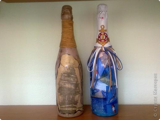В подарок руководителю две бутылочки с морской тематикой фото 1