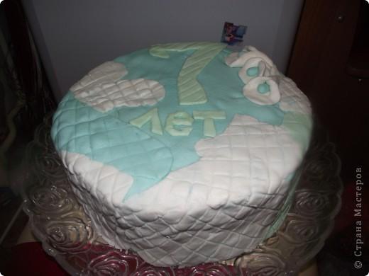 Решила на день рождения сынульки сварганить тортик..Попробовала работать с мастикой (первый блин как говорится комом). Мастику делала из маршмеллоу по этому рецепту  http://forum.say7.info/topic36631.html фото 2