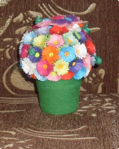 Поделка изделие Квиллинг Горшочек с цветами Бумага фото 1
