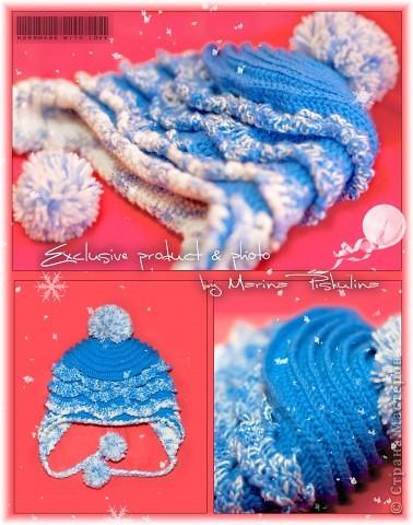 Двойная зимняя шапка для годовалой девочки, с ушками, помпонами и оборками. Связана под заказ и т.к. заказчица привезла свою пряжу, которая оказалась тонковатой, пришлось вязать в две нитки. фото 1