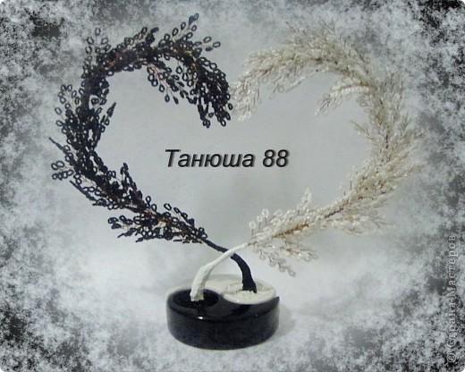 Бисероплетение - Лебелиная верность Сердце - инь-янь из бисера.
