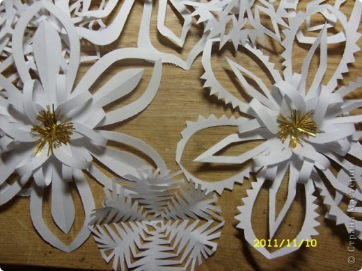 А это снежиночки...Меня Ирина Юрьевна(школьный учитель дочери) попросила вырезать листья осенние для оформления стенда...я их так долго несла...снег выпал :-)...решила снежинки начать вырезать по-раньше, а то что-то у меня не хватает времени ни на что.... фото 5