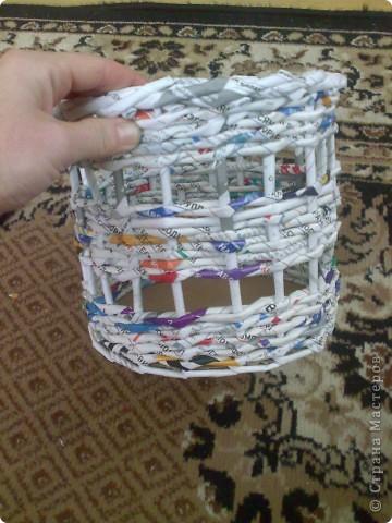 Мастер-класс Плетение МК для Насти Как я делаю дырявую корзину Бумага журнальная фото 43