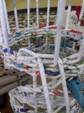 Мастер-класс Плетение МК для Насти Как я делаю дырявую корзину Бумага журнальная фото 29