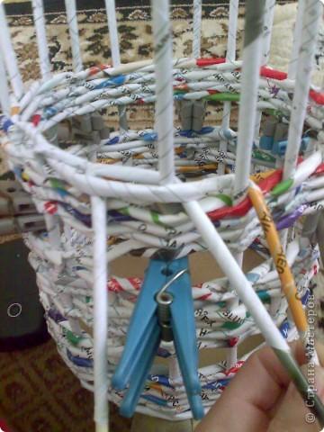 Мастер-класс Плетение МК для Насти Как я делаю дырявую корзину Бумага журнальная фото 31