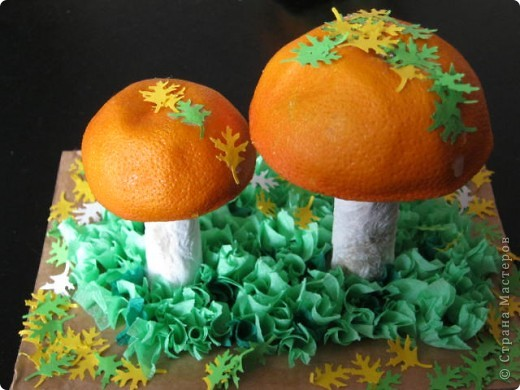 Здравствуйте, дорогие Мастера!Хочу рассказать, как мы с внучкой занимались творчеством. Был тут материал о том как делать грибы, а в комментариях Олеся  https://stranamasterov.ru/user/22863 рассказала, что у них в саду делали грибочки с небольших апельсинов, ну как же не попробовать! фото 2
