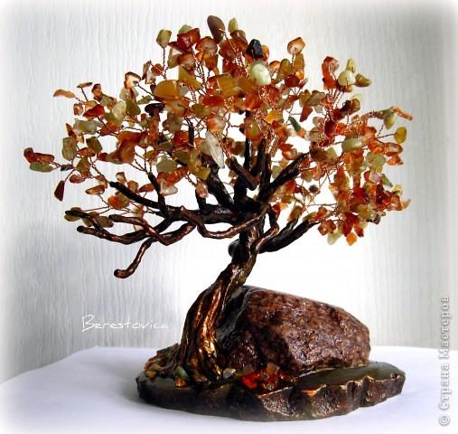 Поделка изделие Бисероплетение Деревья из камней Бисер фото 2