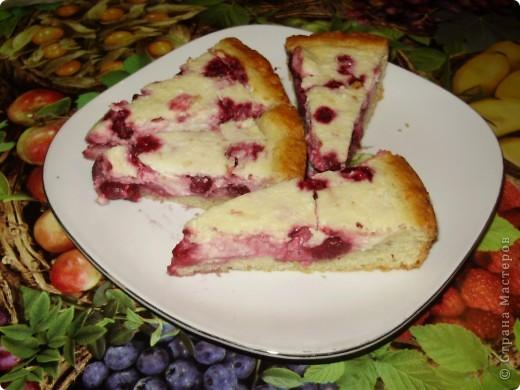 Пирог можно делать с любыми фруктами и ягодами по вашему вкусу. Свежими или консрвированными.  Из замороженной вишни пирог получаеться  немного мокроват ,но на вкус это ни как не влияет.  Приятного аппетита !  С нетерпением буду ждать отзывов !  фото 5