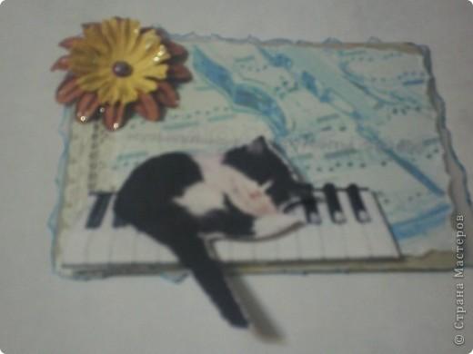 Карточки сделаны для АТС-игры Елены Гайдаенко. Лена, спасибо! 1. Гармония. Для фона использована калька и распечатка с нотами и музыкальным инструментом. фото 2