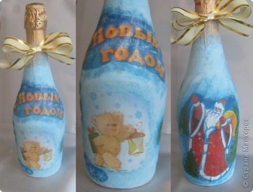 Первая  новогодняя бутылочка с разных  сторон. Приму любую критику, покрыта пока одним слоем лака. фото 1