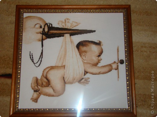 Вышивка крестом аист