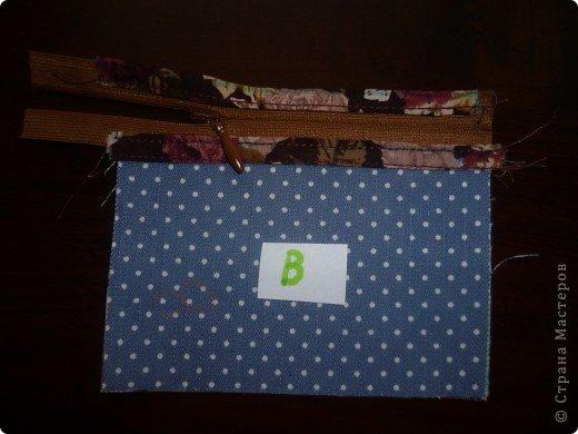 Кошелек в подарок.МК по просьбе Герберочки и Гаврюши. Чтобы сшить кошелек необходимо: джинсовая ткань,цветная ткань,однотонная ткань,чтобы сочеталась с тканями.Уплотнитель для ткани,флизофикс(паутинка ), магнитная кнопка и молния. 1.Выкроить из джинсы детали А - 13,5 х 23 см.  - 2 шт. Б - 11,5 х 23 см. - 1 шт. В - 11,5 х 7,7 см. - 1 шт. Г - 11,5 х 9 см. - 1 шт. Д - 11,5 х 6,5 см. - 1 шт. Выкроить из джинсы клапан 10  х 4 см. - 2 дет. Выкроить из однотонной ткани детали Е -11,5 х 20,3 см. - 1 шт. Ж - 11,5 х15,2 см. - 1 шт. фото 7