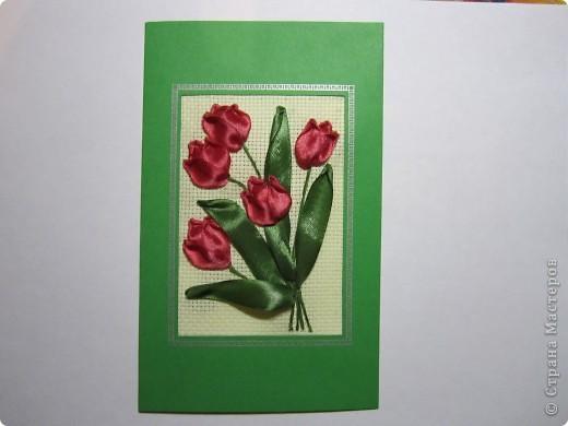 """Оригинальная открытка вышитая лентами """"Тюльпаны"""" фото 1"""