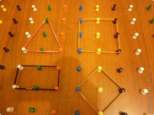 """Мини мастер-класс по изготовлению """"Геометрика"""" математического планшета. Математический планшет – это поле со 150  штырьками для рисования резиночками. Математический планшет  дает возможность ребенку на чувственном опыте освоить некоторые базовые концепции планиметрии: периметр, площадь, фигура и т.д., развивать индуктивное и дедуктивное мышление, дать представление о симметрии, конгруэнтности, трансформации размера, формы.  Математический планшет – это возможность исследовательской деятельности для ребенка, содействие его психосенсомоторному когнитивному (познавательному) развитию, а также развитию творческих способностей. А это означает – развитие тонкой моторики, дифференцированного восприятия, сенсомоторной памяти, усвоение обобщенных знаний и способов действия. Развитие воображения будет способствовать получению творческих результатов во всех видах деятельности и обеспечит полноценную готовность к школьному обучению и дальнейшие успехи в школе. Математический планшет даст возможность в играх осваивать систему координат.  Работая с группой детей, можно проводить зрительные и слуховые диктанты на математическом планшете.  Итак, берем любую дощечку, я взяла ненужную полку от мебели из ДСП. Еще нам понадобятся: молоток, кнопки - гвоздики(продаются в канц.товарах) и пассатижи. Тетрадные листы в клетку и клей или скотч. фото 9"""