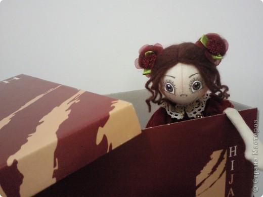 В дверь позвонили.На пороге стоял почтальон с коробкой в руках.Крышка медленно приподнялась и из коробки показалась моя гостья из далёкой Москвы от Ирочки(Фея). фото 1