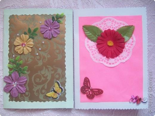 Такие открыточки я подсмотрела у Юлии Кобяшовой. Они мне очень понравились. И я спросила разрешения их повторить. И вот что у меня получилось. фото 1