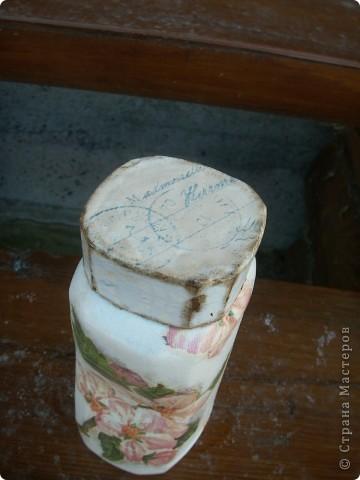 """баночка """"Яблоневый цвет"""". В работе использованы акриловые краски, салфетка, акриловый лак для саун, битум. фото 4"""