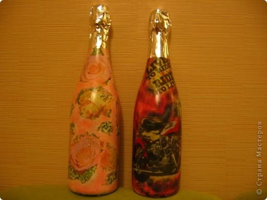 Украшение бутылок фото 1