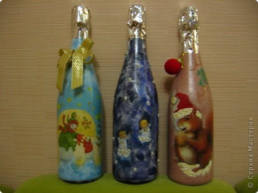 Украшение бутылок фото 2
