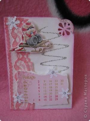 Эти карточки части календаря на 2012 год. Карточек 12, как и месяцев в году. Использована бумага ручной работы, дистресс чернила, бусины, стразы, винтажное кружево,вырубки, глиттер, брадсы. Очень трудоемкие и красивые (на мой взгляд).  поедет к bagira1965  фото 1