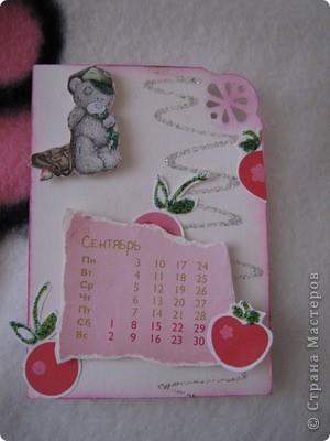 Эти карточки части календаря на 2012 год. Карточек 12, как и месяцев в году. Использована бумага ручной работы, дистресс чернила, бусины, стразы, винтажное кружево,вырубки, глиттер, брадсы. Очень трудоемкие и красивые (на мой взгляд).  поедет к bagira1965  фото 9