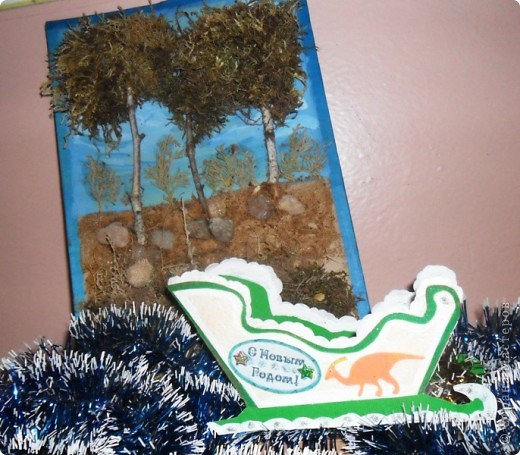 Мои варианты открыток и саней Деда Мороза по МК мастериц. фото 12