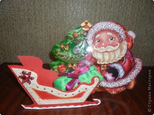 Мои варианты открыток и саней Деда Мороза по МК мастериц. фото 5