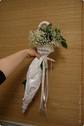 Свадебный букет зонт с гипсофилой фото 1
