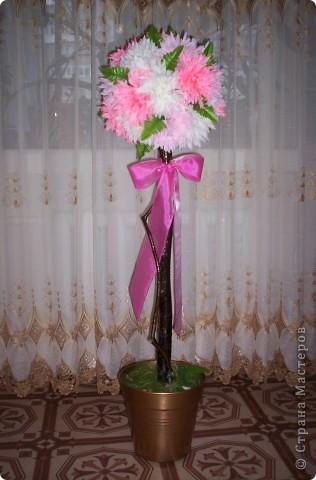 Основа - шар из газет и ниток, ствол - ветка от дерева, горшок покрашен краской из балончика, цветы - искуственные. фото 1