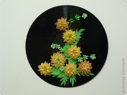 Цветы на пластинке  Мне очень нравиться техника квиллинг. Давно любуюсь на работы мастериц, а сделать сама не решалась попробовать. Но когда  увидала работу Ольги Ольшак  с мастер классом, не удержалась и сделала свои цветы на пластинке по ее мастер классу