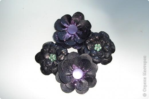 цветочки из кожи для шлепок