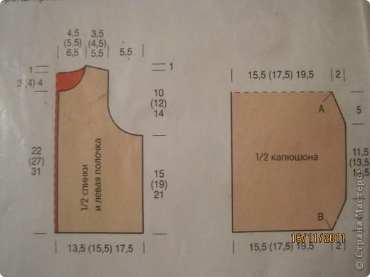 Схема выкройки детской жилетки и капюшона фото 1