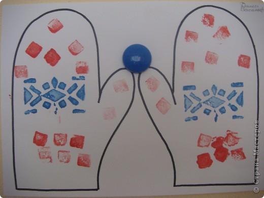 Сегодня мои трехлеточки украшали рукавички штамповкой. Это мой образец. А дальше галерея наиболее удавшихся рукавичек. Решила не утомлять Вас полным набором из шестнадцати пар. :-) фото 4