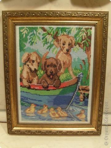 Моей старшей дочурке 13 лет. Вот недавно закончила последнюю  работу. Три щенка в лодке вышивала крестиком . Размер в рамке 25 на 32 фото 1