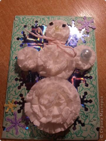 Снеговички сделаны из салфеток(обьемные)........фон - бумага оформительская........ фото 5