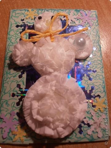 Снеговички сделаны из салфеток(обьемные)........фон - бумага оформительская........ фото 6