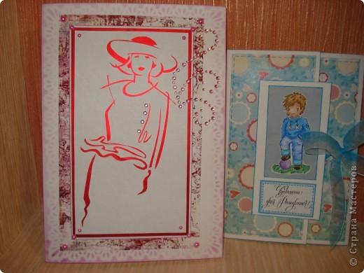 Вот такие открыточки я сотворила по поводу и без повода. В качестве основы - бумага для акварели. Фоны распечатывала.  фото 1