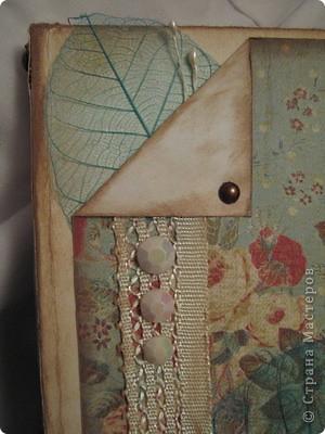 """Это мой первый блокнот """"с нуля"""". Работа выполненна по МК осюда: коптский переплет отсюда http://scrap-info.ru/myarticles/article_storyid_381.html  обложку отсюда - http://scrap-rony.blogspot.com/2009/10/blog-post_08.html. Оформление придумала сама. хотела сначала прибавить цветочков, потом подумала, что цвет фона слишком интенсивен и остановилась на скелетированных листьях. фото 2"""