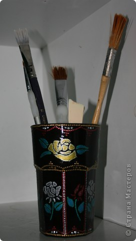 стаканчик для инструментария Использовала лаковые контруры, трафарет и конеЧно мои любимые контуры фото 1